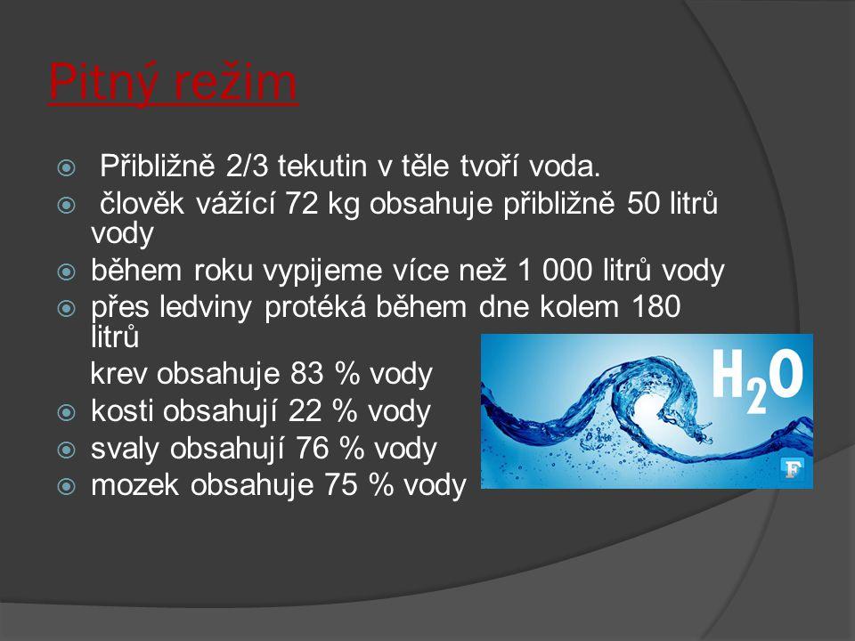 Pitný režim Přibližně 2/3 tekutin v těle tvoří voda.