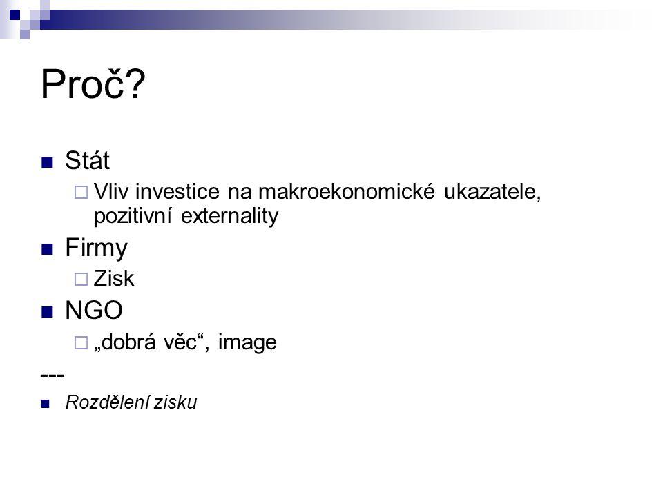 Proč Stát. Vliv investice na makroekonomické ukazatele, pozitivní externality. Firmy. Zisk. NGO.