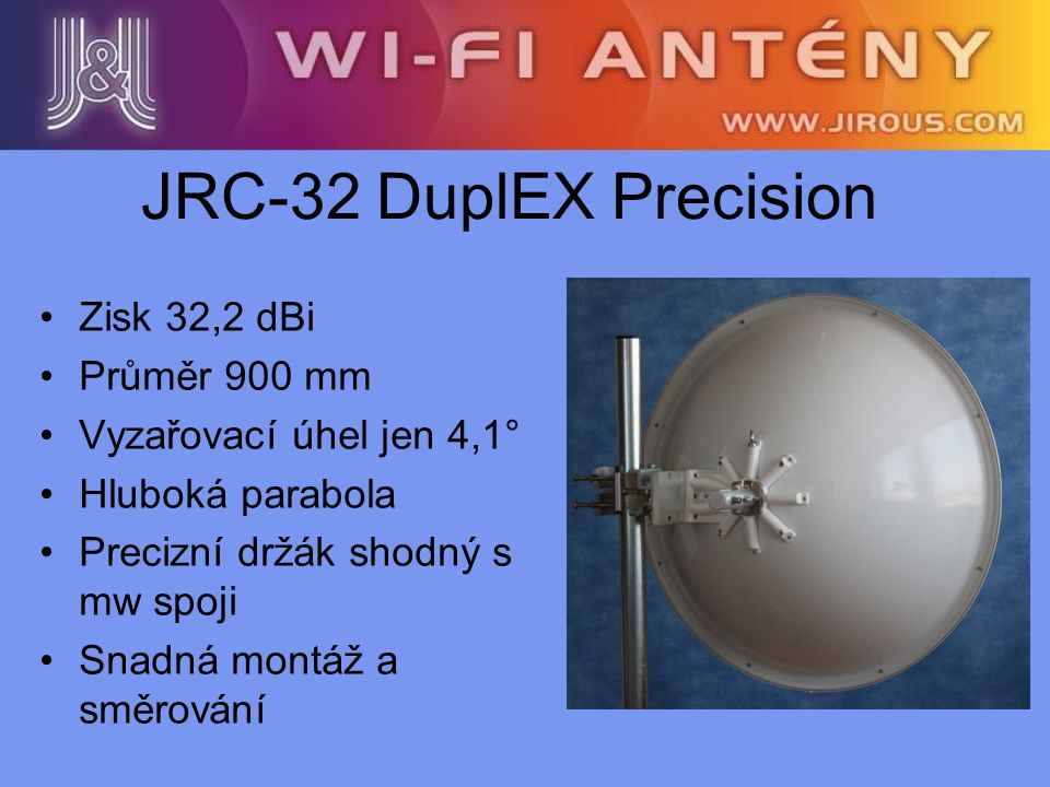 JRC-32 DuplEX Precision Zisk 32,2 dBi Průměr 900 mm
