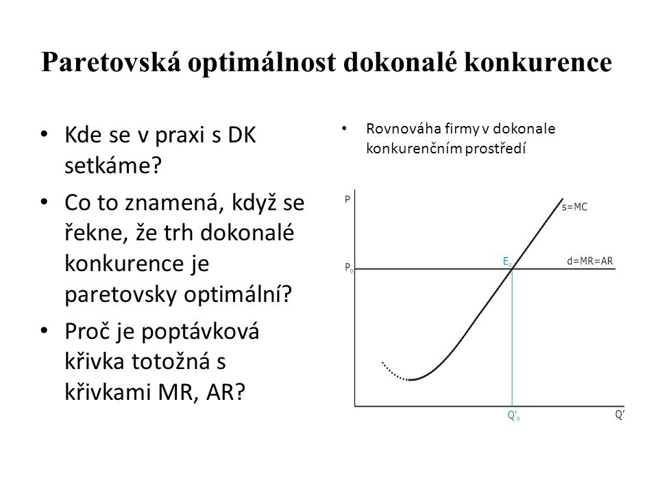 Paretovská optimálnost dokonalé konkurence