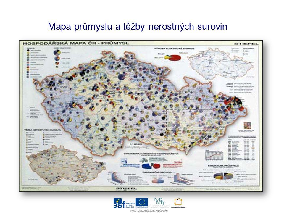 Mapa průmyslu a těžby nerostných surovin