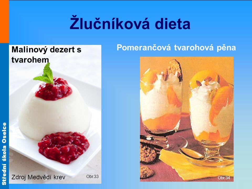 Žlučníková dieta Pomerančová tvarohová pěna Malinový dezert s tvarohem