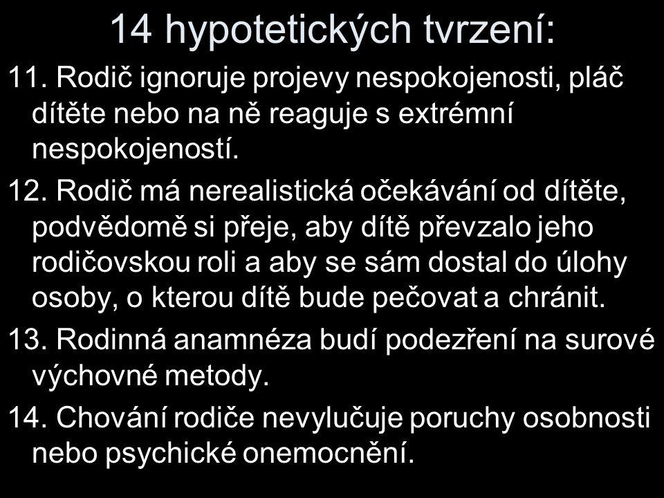 14 hypotetických tvrzení: