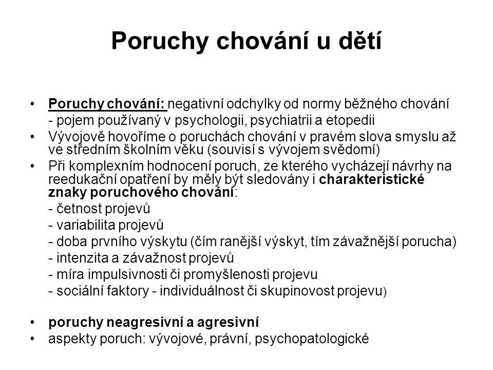 Poruchy chování u dětí Poruchy chování: negativní odchylky od normy běžného chování. - pojem používaný v psychologii, psychiatrii a etopedii.