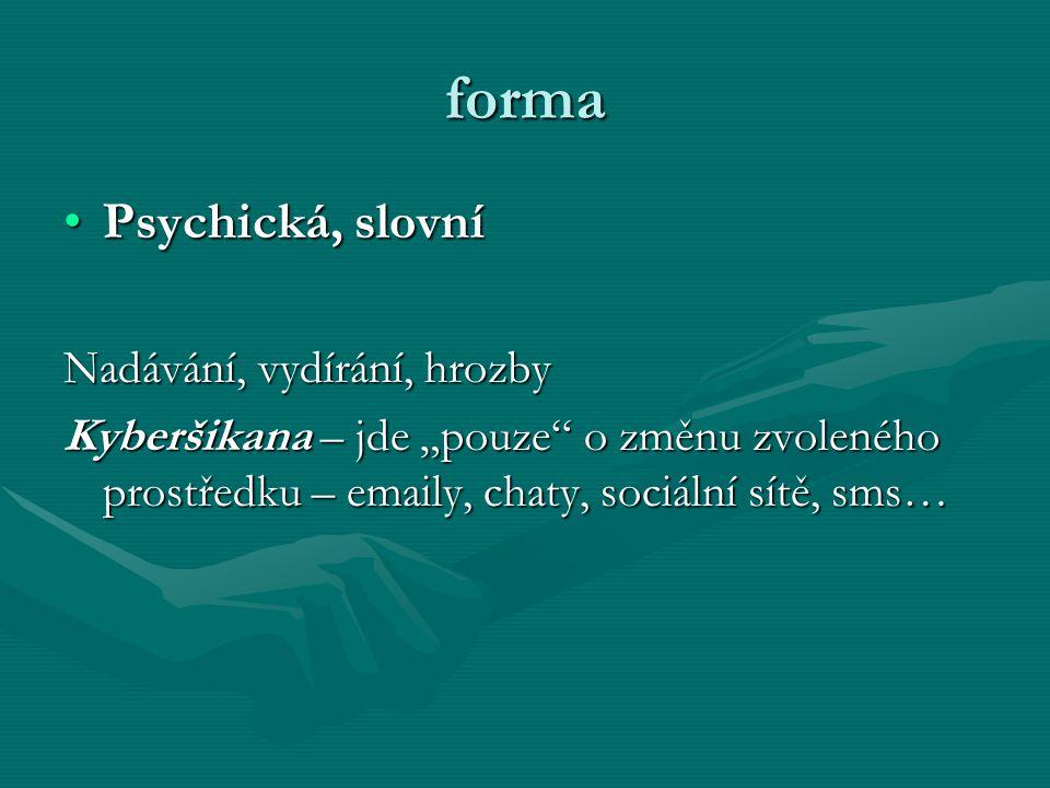 forma Psychická, slovní Nadávání, vydírání, hrozby