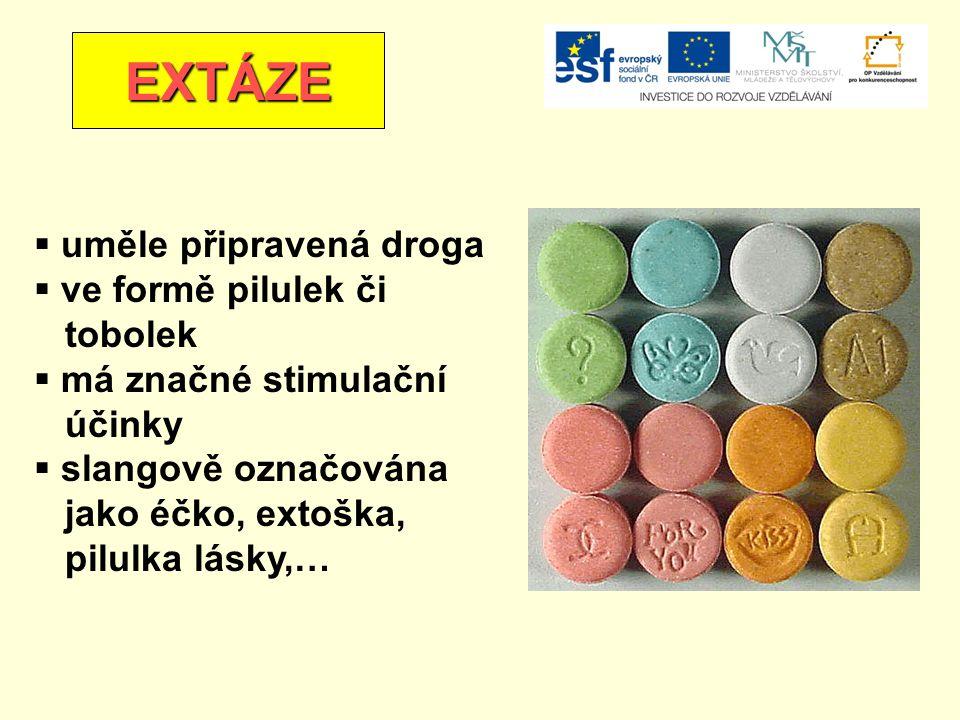 EXTÁZE uměle připravená droga ve formě pilulek či tobolek