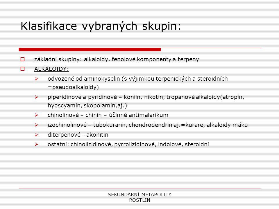 Klasifikace vybraných skupin: