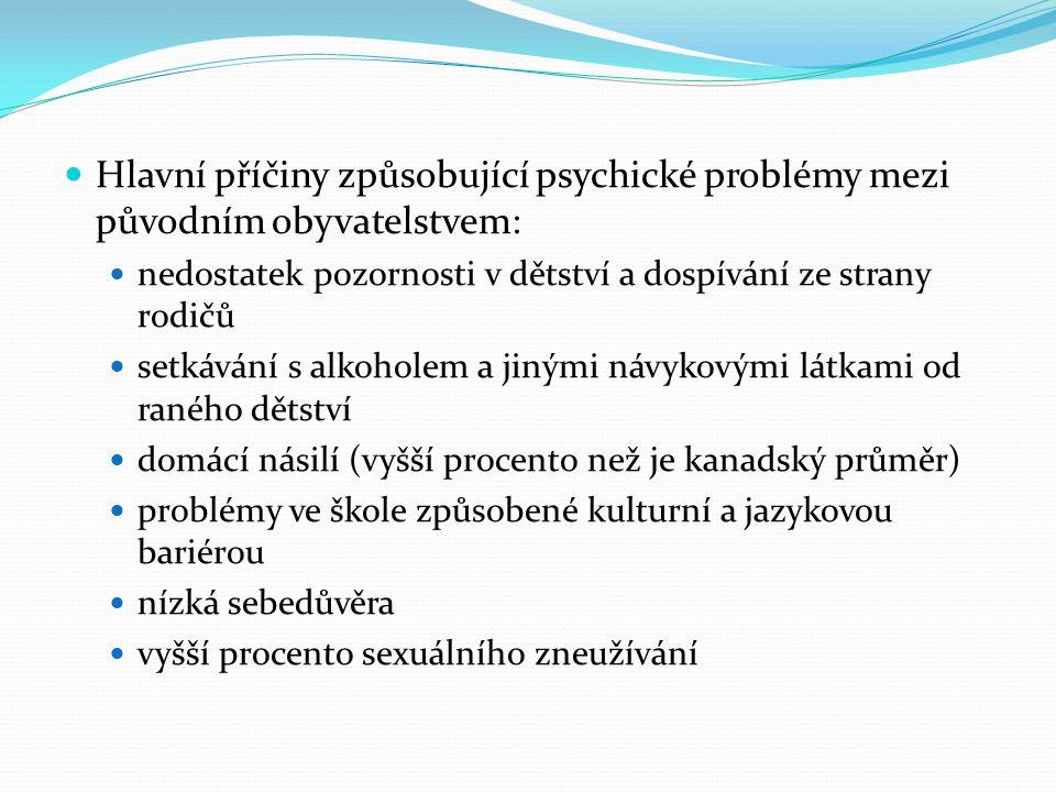 Hlavní příčiny způsobující psychické problémy mezi původním obyvatelstvem: