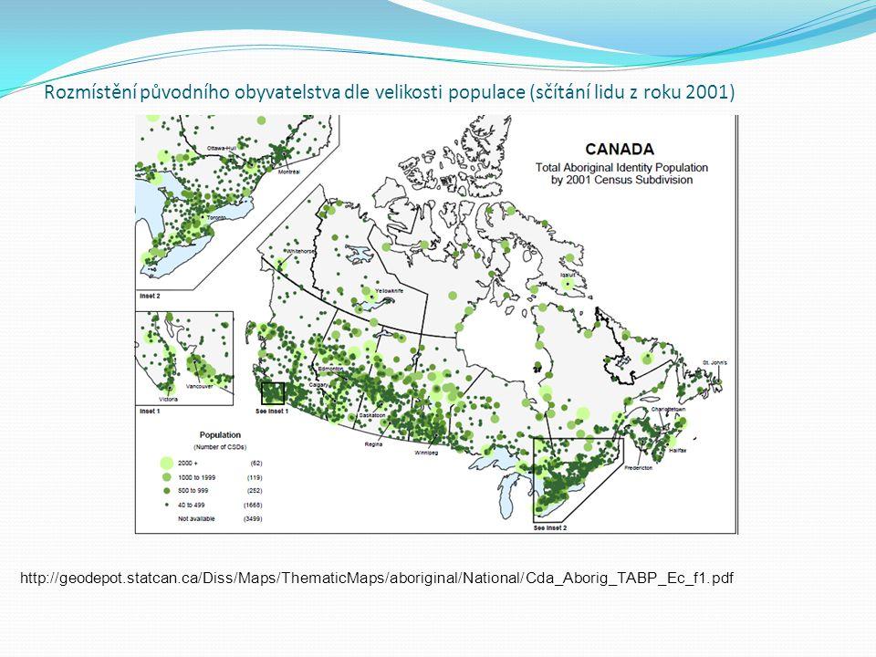 Rozmístění původního obyvatelstva dle velikosti populace (sčítání lidu z roku 2001)