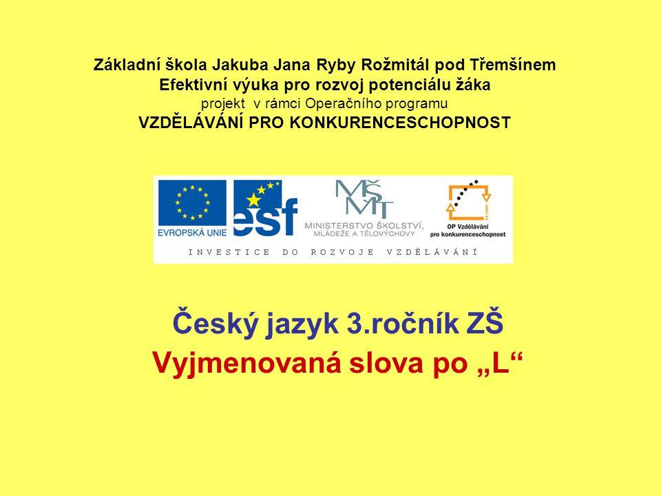 """Český jazyk 3.ročník ZŠ Vyjmenovaná slova po """"L"""