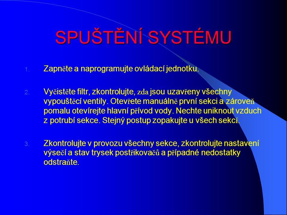 SPUŠTĚNÍ SYSTÉMU Zapněte a naprogramujte ovládací jednotku.