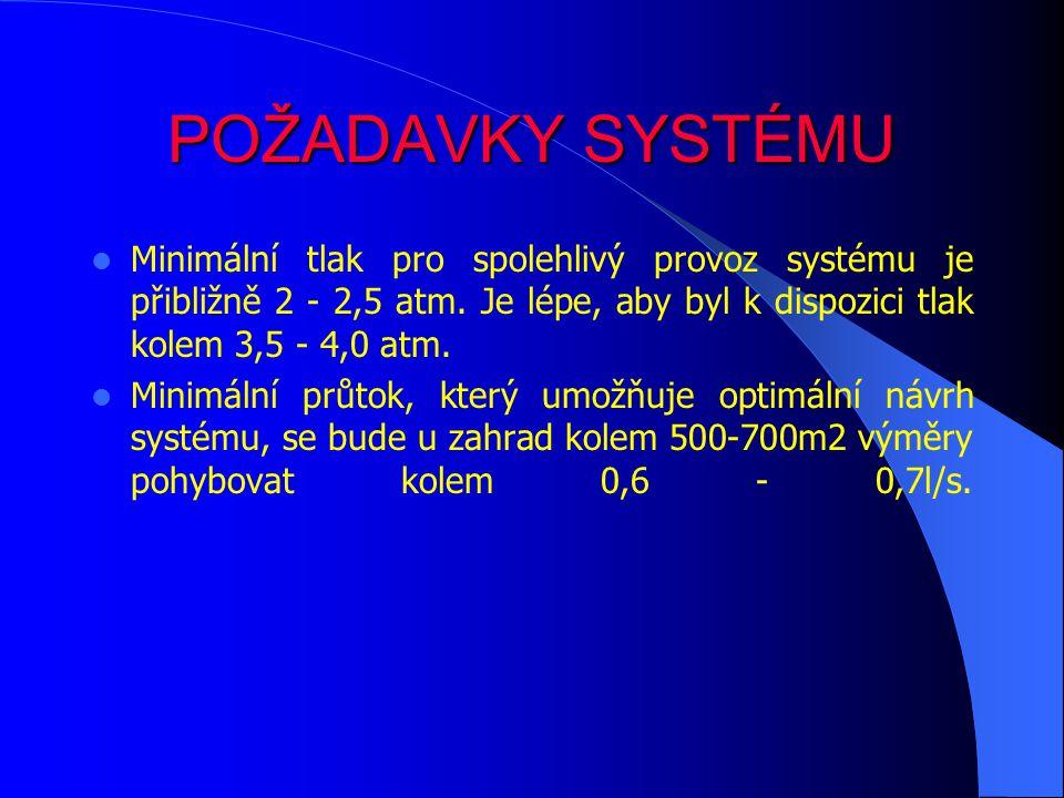 POŽADAVKY SYSTÉMU Minimální tlak pro spolehlivý provoz systému je přibližně 2 - 2,5 atm. Je lépe, aby byl k dispozici tlak kolem 3,5 - 4,0 atm.