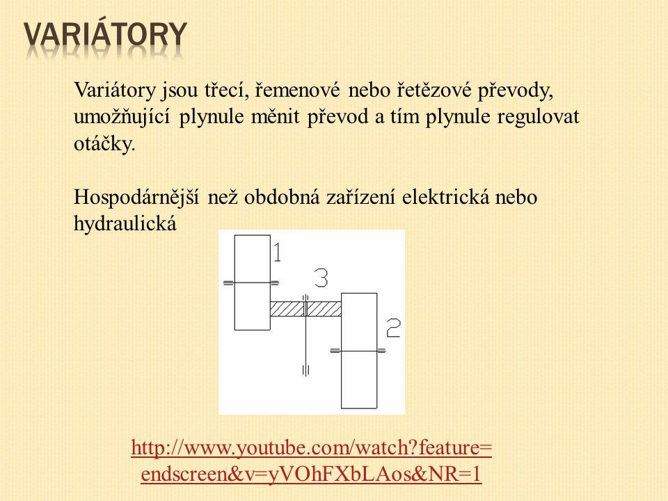 Variátory Variátory jsou třecí, řemenové nebo řetězové převody, umožňující plynule měnit převod a tím plynule regulovat otáčky.