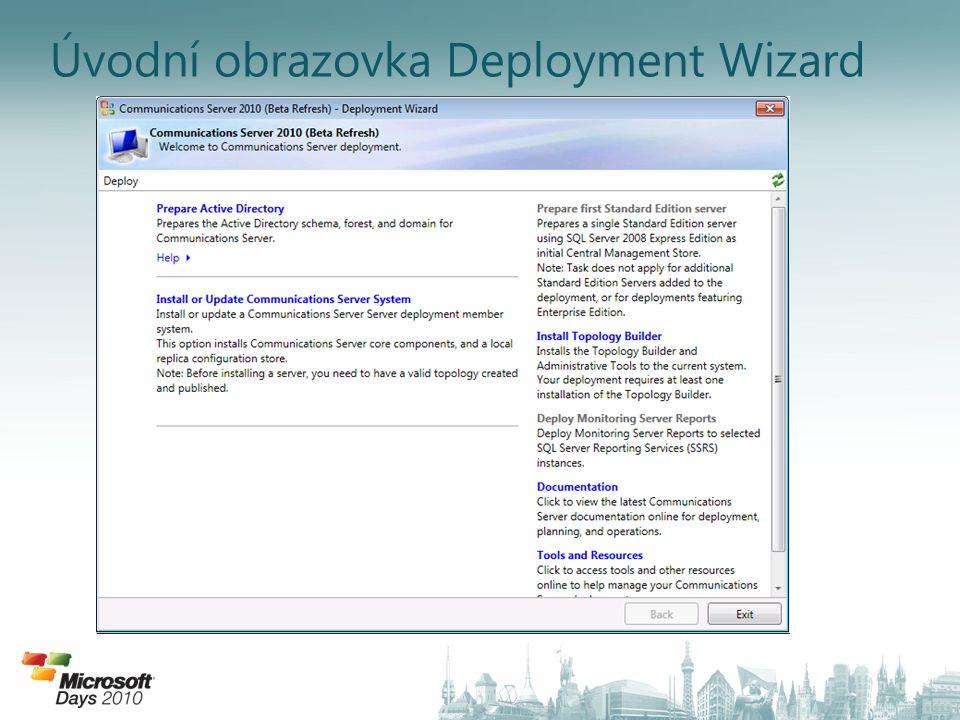 Úvodní obrazovka Deployment Wizard