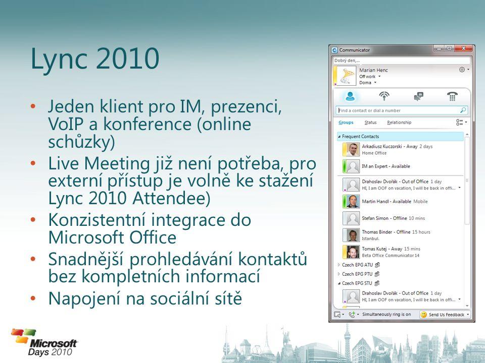 Lync 2010 Jeden klient pro IM, prezenci, VoIP a konference (online schůzky)