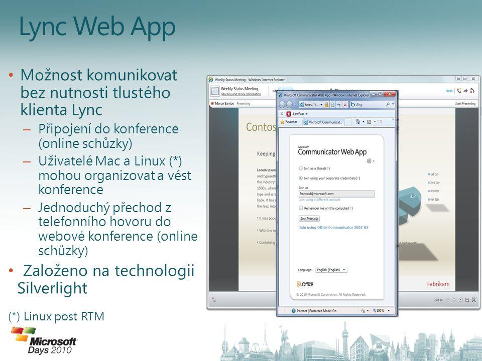 Lync Web App Možnost komunikovat bez nutnosti tlustého klienta Lync