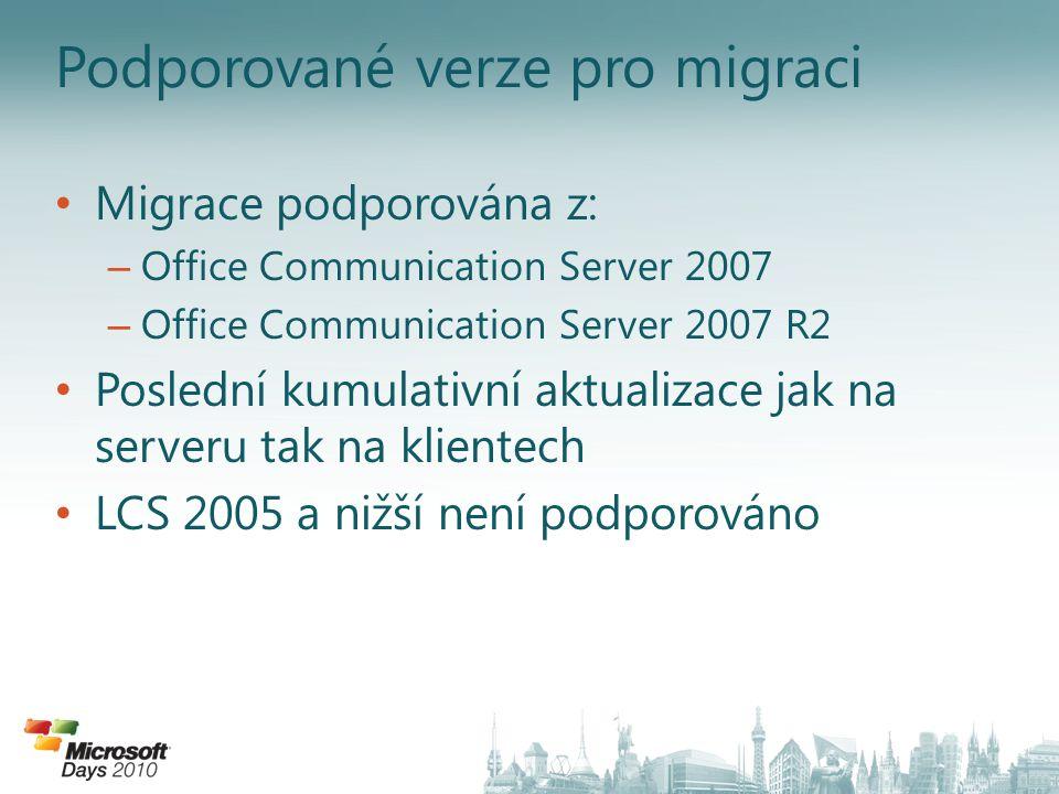Podporované verze pro migraci