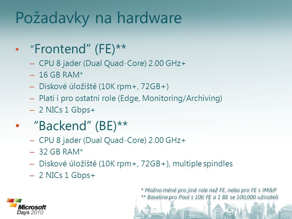 Požadavky na hardware Backend (BE)** Frontend (FE)**