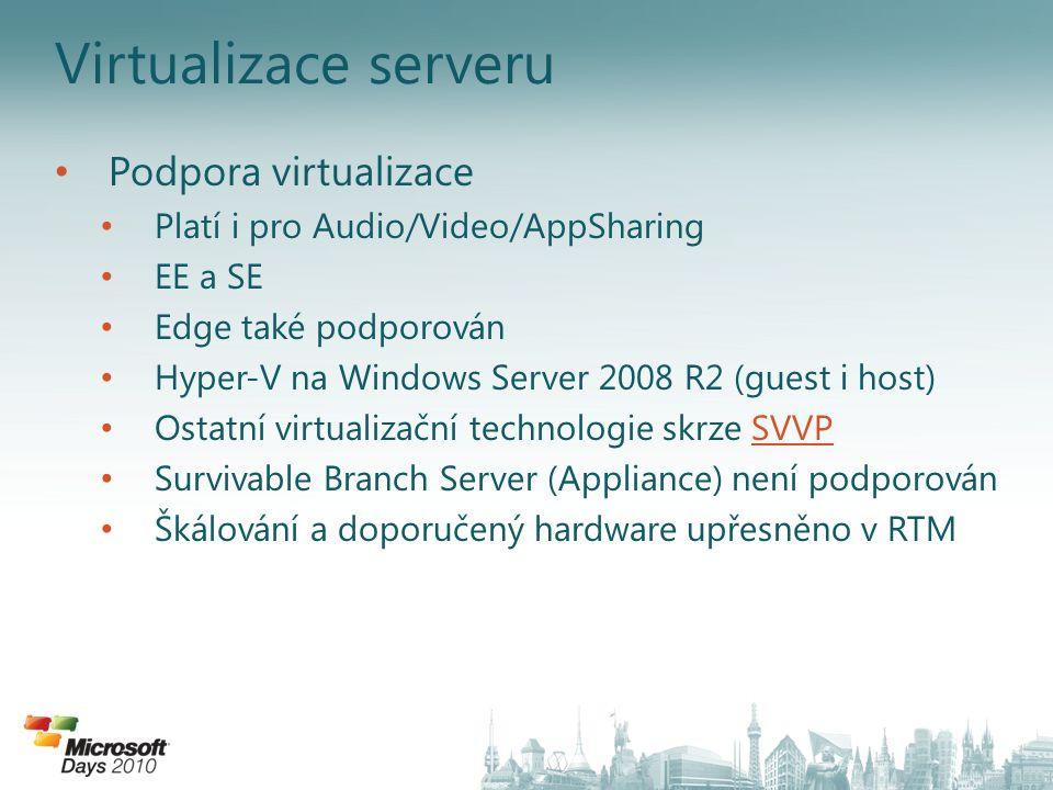 Virtualizace serveru Podpora virtualizace