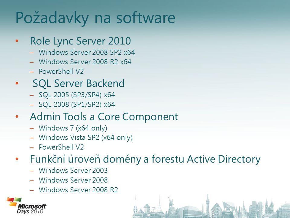 Požadavky na software Role Lync Server 2010 SQL Server Backend