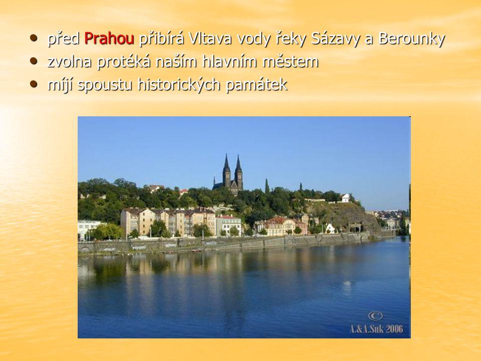 před Prahou přibírá Vltava vody řeky Sázavy a Berounky