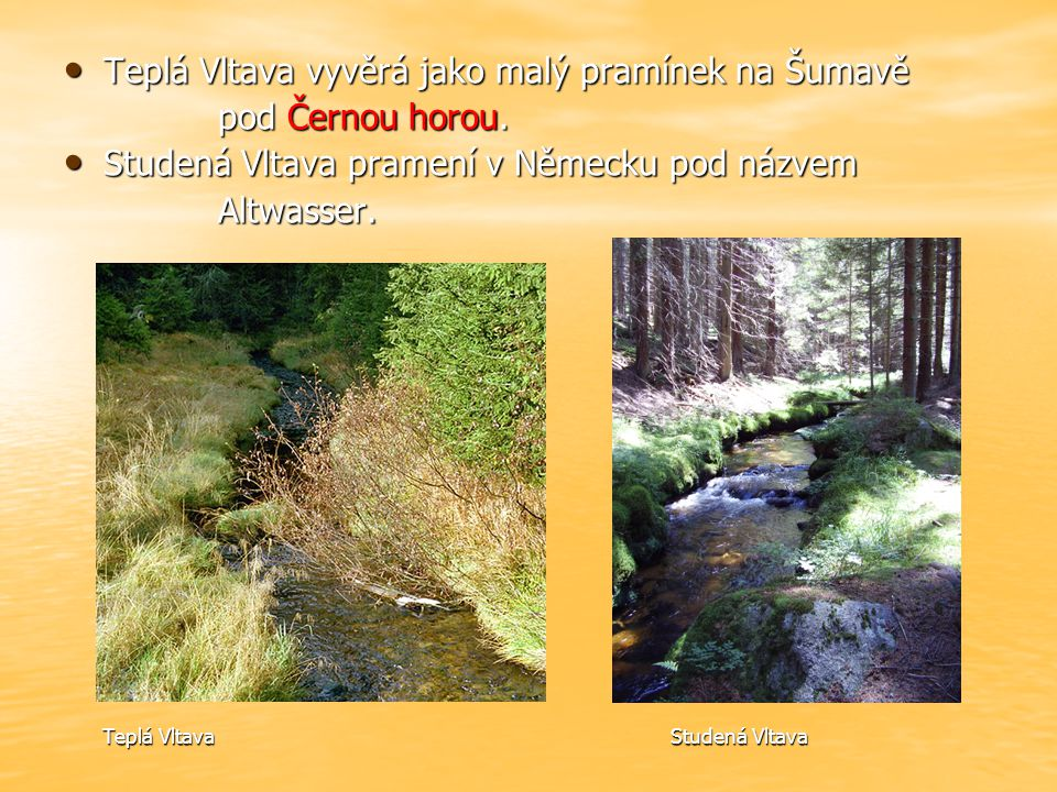 Teplá Vltava vyvěrá jako malý pramínek na Šumavě pod Černou horou.