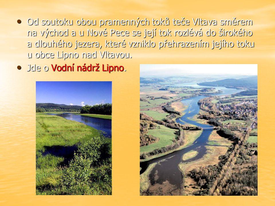 Od soutoku obou pramenných toků teče Vltava směrem na východ a u Nové Pece se její tok rozlévá do širokého a dlouhého jezera, které vzniklo přehrazením jejího toku u obce Lipno nad Vltavou.