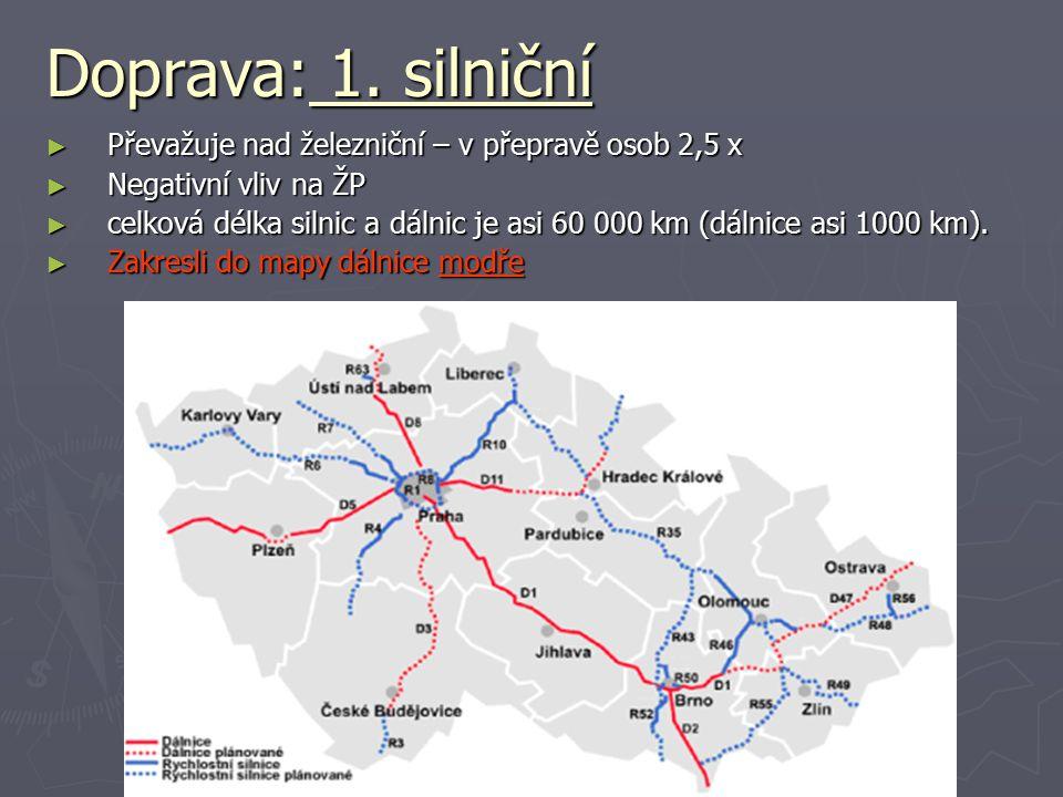 Doprava: 1. silniční Převažuje nad železniční – v přepravě osob 2,5 x