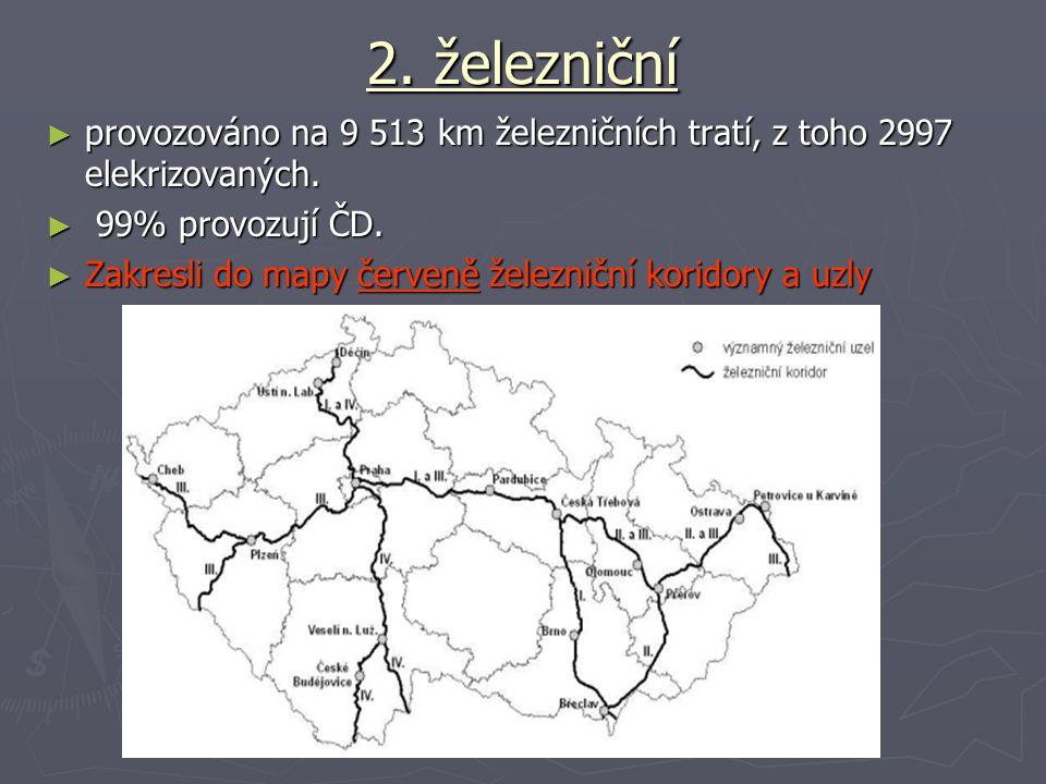 2. železniční provozováno na 9 513 km železničních tratí, z toho 2997 elekrizovaných. 99% provozují ČD.