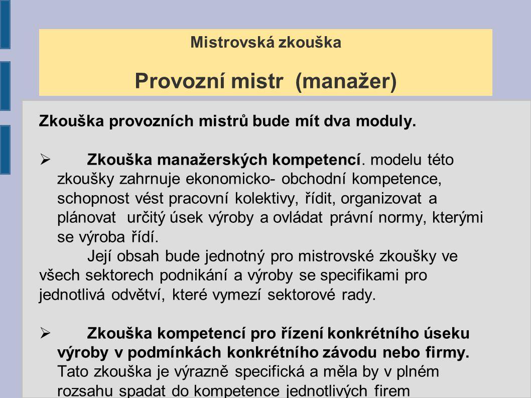 Mistrovská zkouška Provozní mistr (manažer)