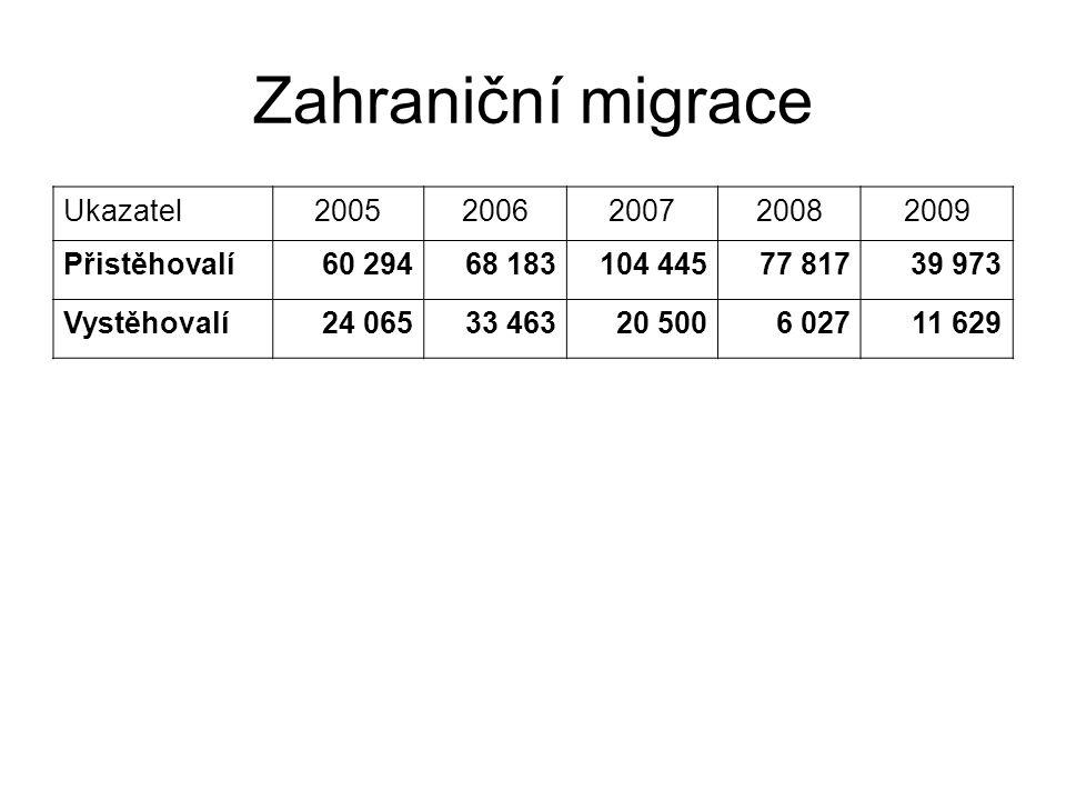 Zahraniční migrace Ukazatel 2005 2006 2007 2008 2009 Přistěhovalí
