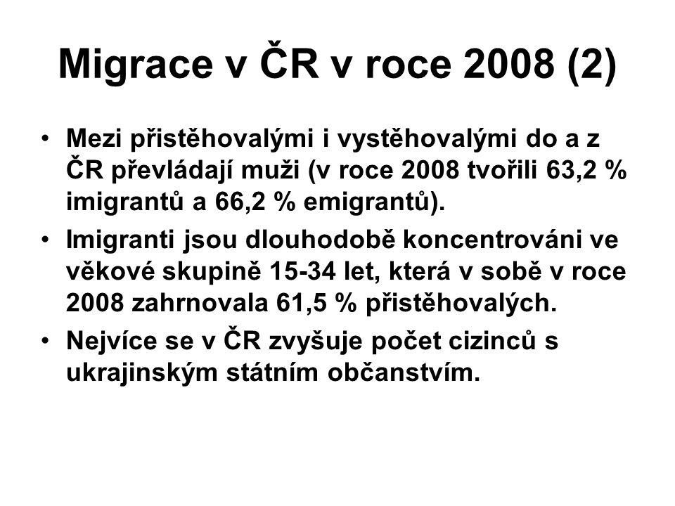 Migrace v ČR v roce 2008 (2)