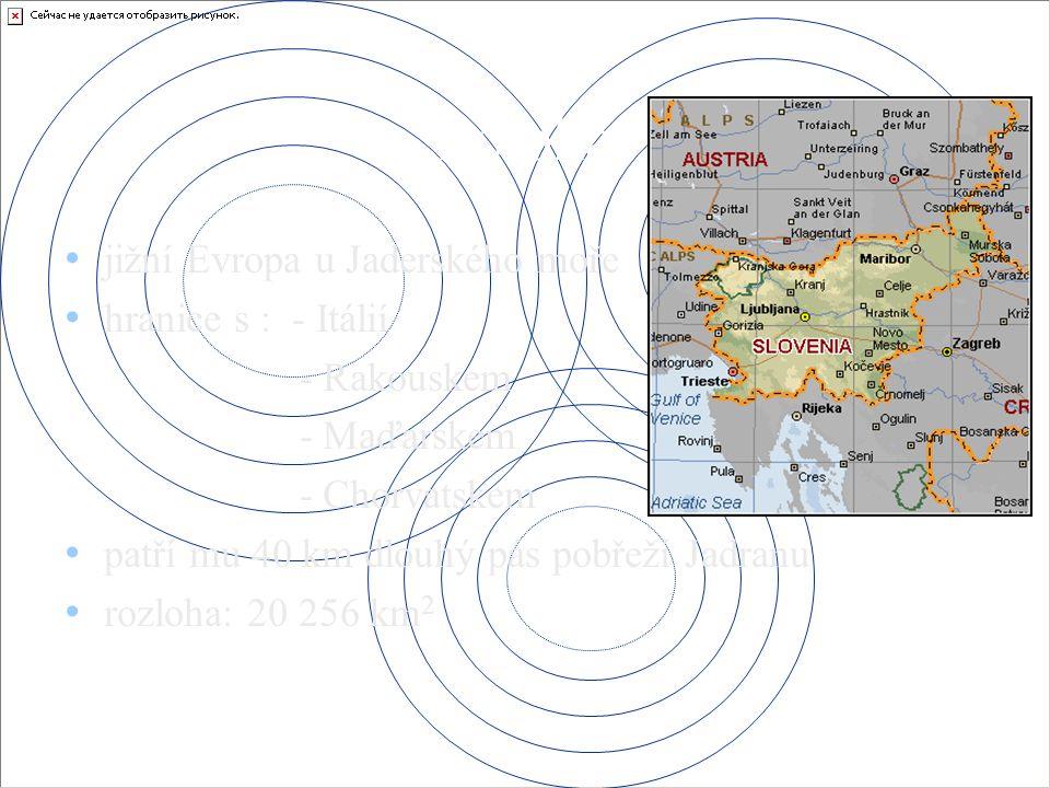 Poloha jižní Evropa u Jaderského moře hranice s : - Itálií - Rakouskem