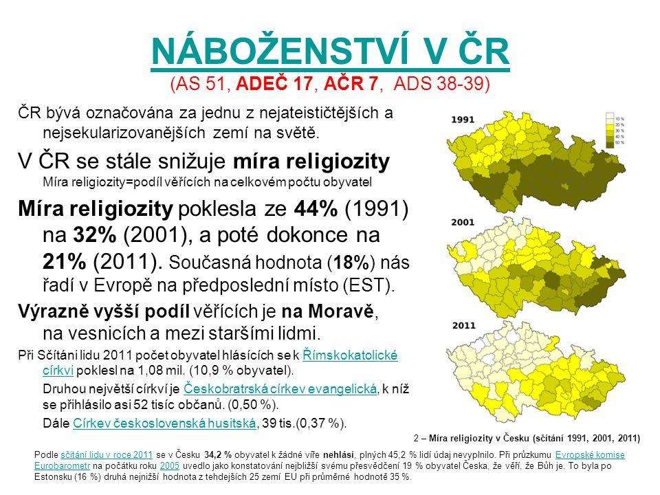 NÁBOŽENSTVÍ V ČR (AS 51, ADEČ 17, AČR 7, ADS 38-39)