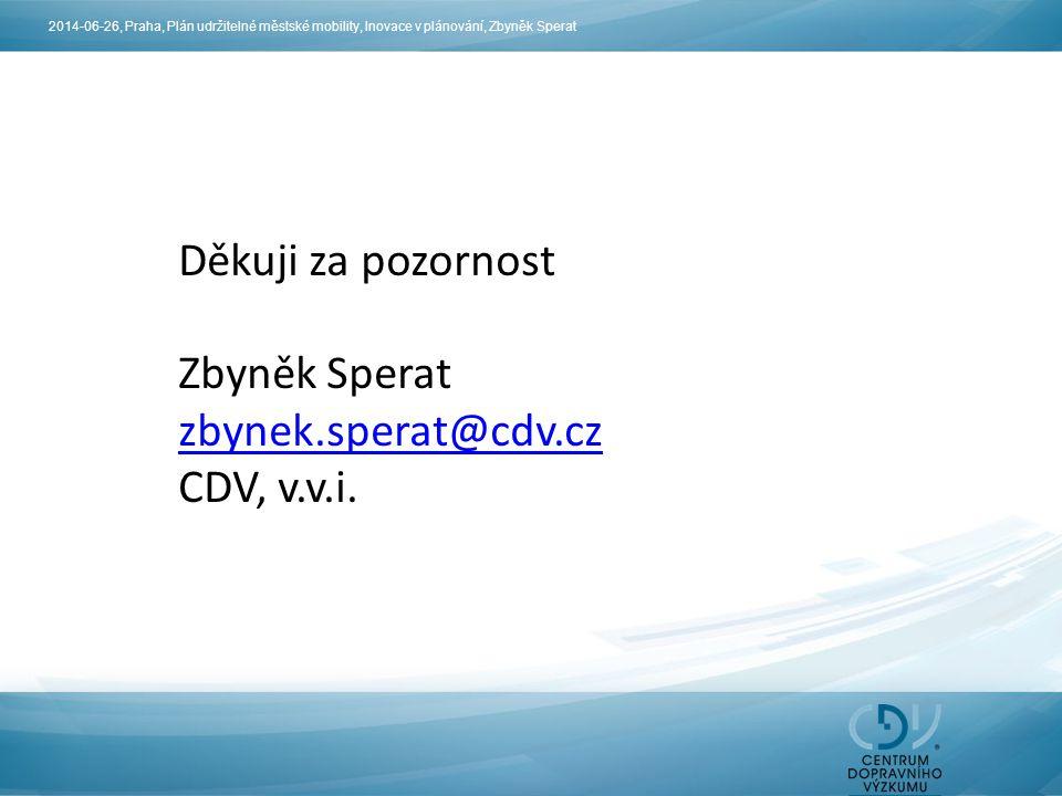 Děkuji za pozornost Zbyněk Sperat zbynek.sperat@cdv.cz CDV, v.v.i.