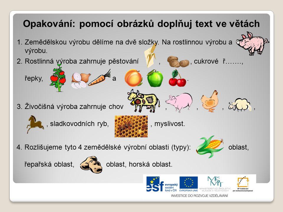 Opakování: pomocí obrázků doplňuj text ve větách