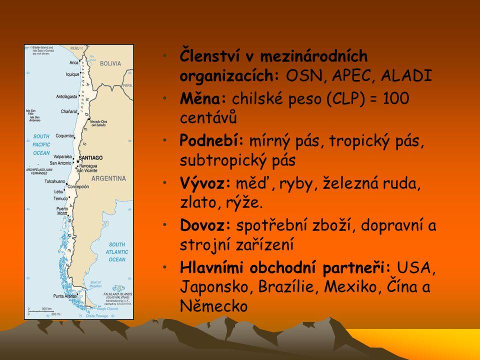 Členství v mezinárodních organizacích: OSN, APEC, ALADI