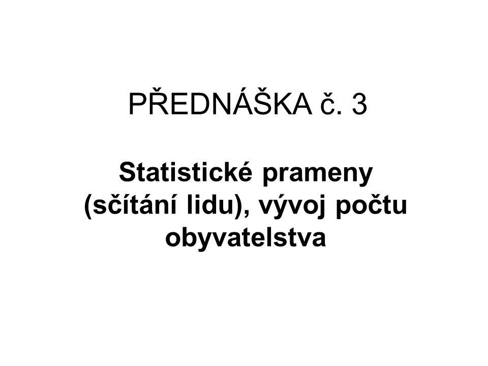 Statistické prameny (sčítání lidu), vývoj počtu obyvatelstva