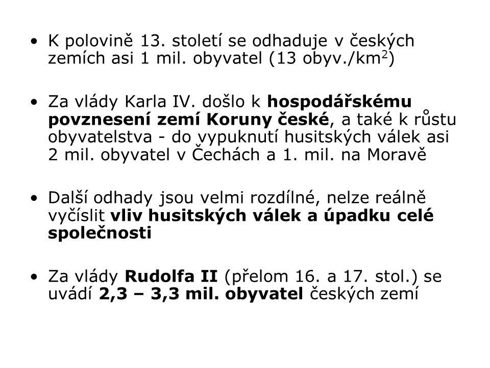 K polovině 13. století se odhaduje v českých zemích asi 1 mil