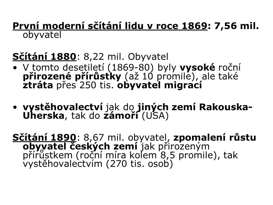 První moderní sčítání lidu v roce 1869: 7,56 mil. obyvatel