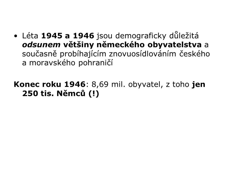 Léta 1945 a 1946 jsou demograficky důležitá odsunem většiny německého obyvatelstva a současně probíhajícím znovuosídlováním českého a moravského pohraničí