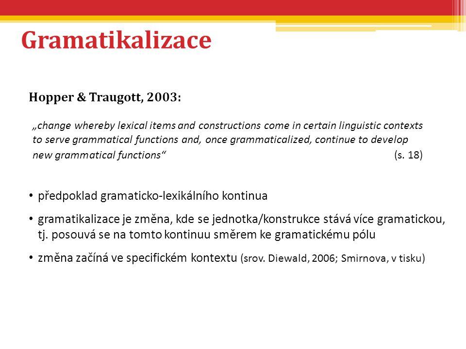 Gramatikalizace Hopper & Traugott, 2003: