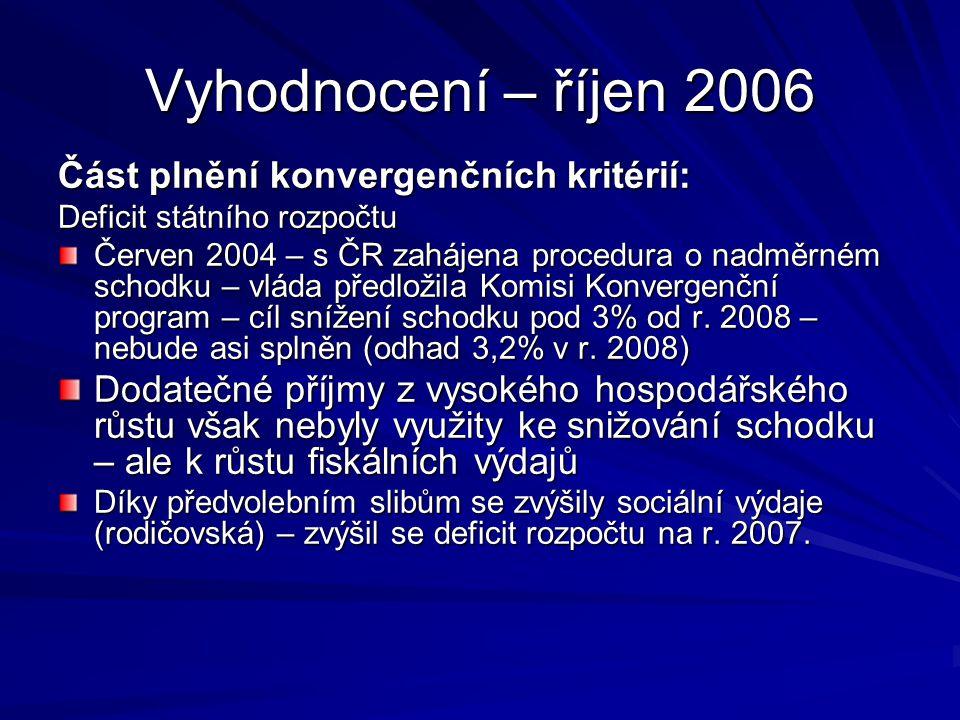 Vyhodnocení – říjen 2006 Část plnění konvergenčních kritérií: