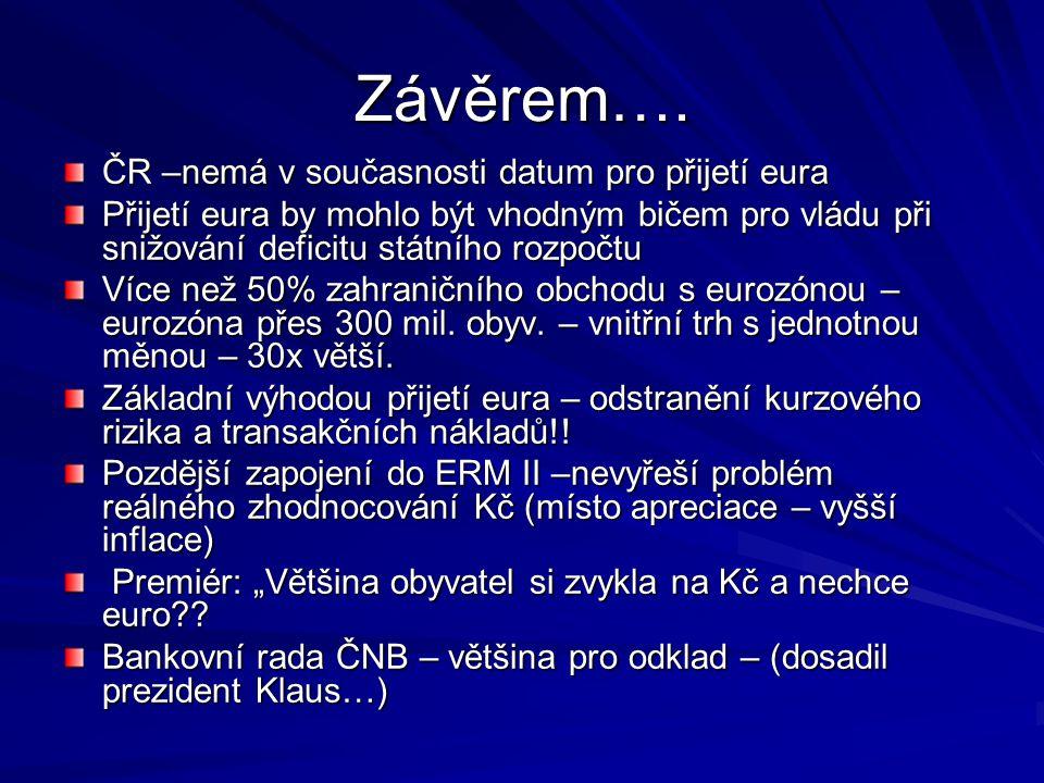 Závěrem…. ČR –nemá v současnosti datum pro přijetí eura