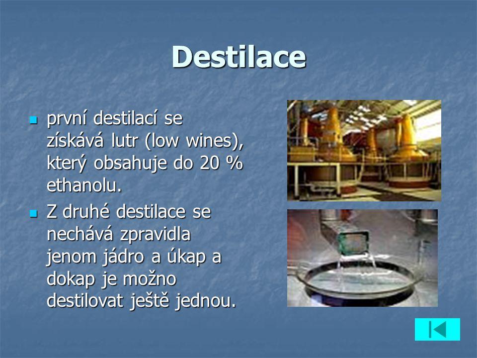 Destilace první destilací se získává lutr (low wines), který obsahuje do 20 % ethanolu.