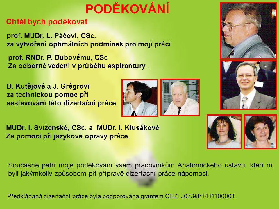 PODĚKOVÁNÍ Chtěl bych poděkovat prof. MUDr. L. Páčovi, CSc.