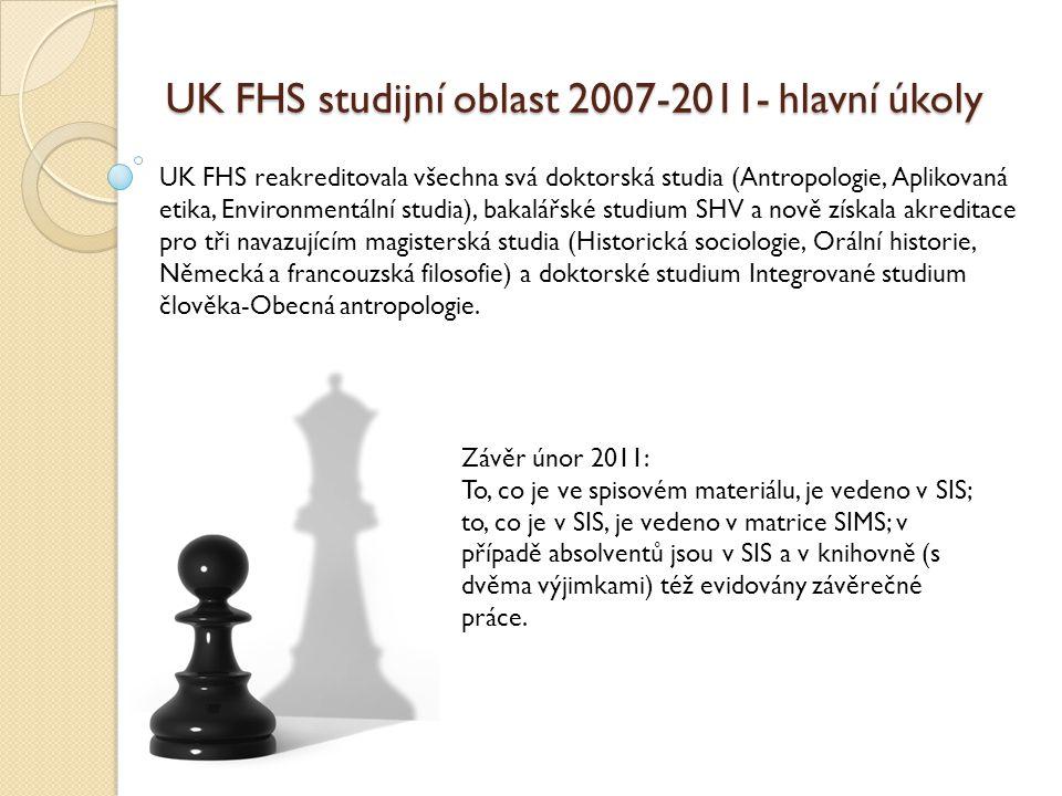 UK FHS studijní oblast 2007-2011- hlavní úkoly