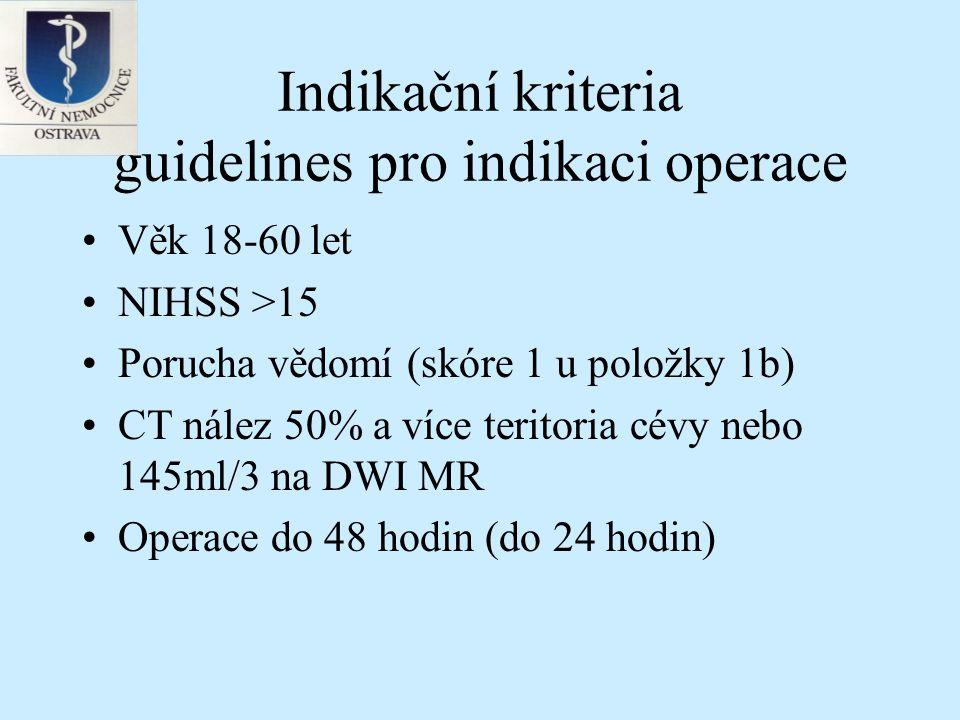 Indikační kriteria guidelines pro indikaci operace