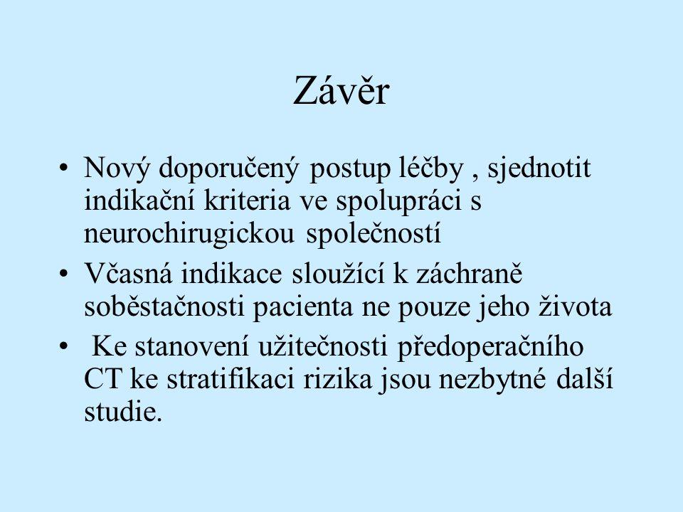 Závěr Nový doporučený postup léčby , sjednotit indikační kriteria ve spolupráci s neurochirugickou společností.