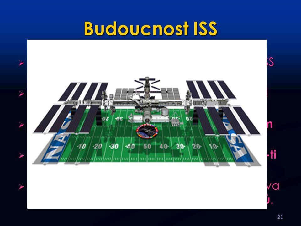 Budoucnost ISS Finanční nákladnost projektu dokončení ISS stále oddaluje. Předpokládá se přidání dalších obytných i podpůrných modulů.